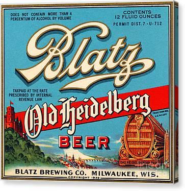 Blatz Old Heidelberg Vintage Beer Label Restored Canvas Print