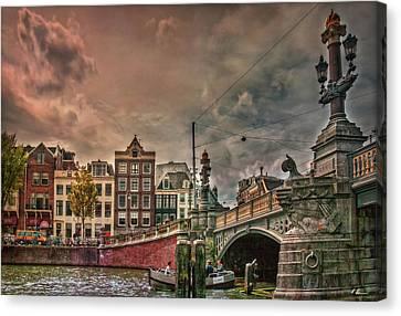 Canvas Print featuring the photograph Blauwbrug -blue Bridge- by Hanny Heim