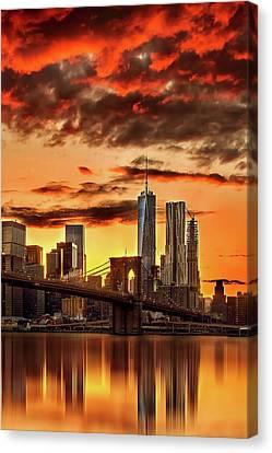 Fiery Canvas Print - Blazing Manhattan Skyline by Az Jackson