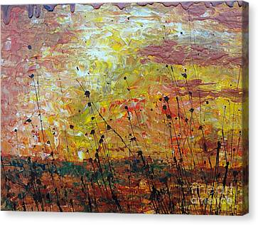 Canvas Print featuring the painting Blazing Prairie by Jacqueline Athmann