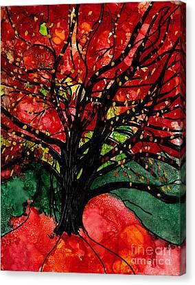 Blazing Red Orange Autumn Tree Canvas Print