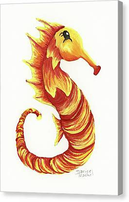 Canvas Print featuring the painting Blazing Seahorse by Darice Machel McGuire