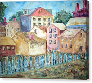 Bldgs In Boothbay Harbor Canvas Print by Joseph Sandora Jr