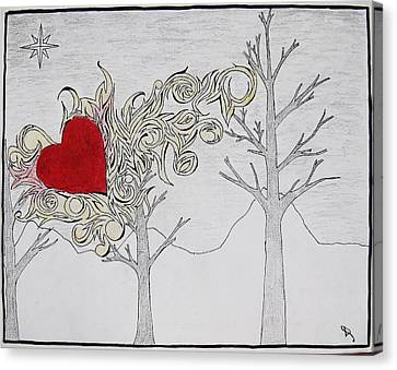 Canvas Print featuring the drawing Bleeding Heart by Daryl Chakravarthy
