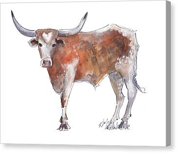 Bless Your Heart Of Texas Longhorn A Watercolor Longhorn Painting By Kathleen Mcelwaine Canvas Print by Kathleen McElwaine