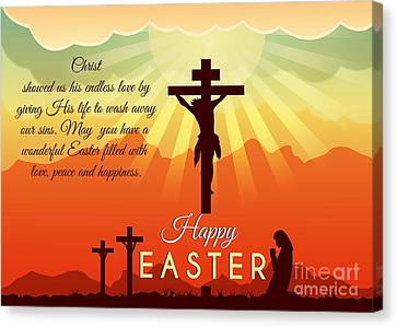 Canvas Print featuring the digital art Blessed Easter Crosses by JH Designs