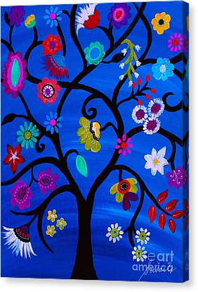 Canvas Print featuring the painting Blessed Tree Of Life by Pristine Cartera Turkus