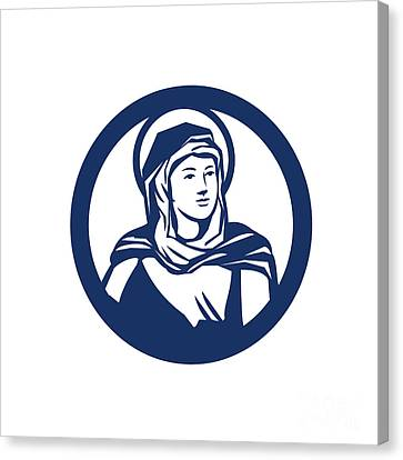 Blessed Virgin Mary Circle Retro Canvas Print