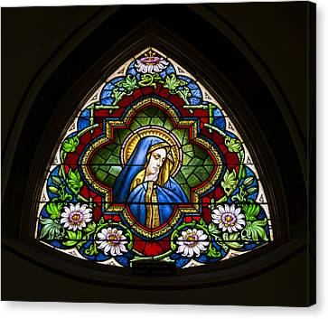 Blessed Virgin Mary Stained Glass Canvas Print by Stephen Stookey