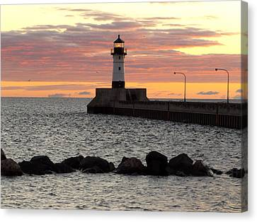 Duluth Canal Park Canal Park Lighthouse Lighthouse Lake Superior Minnesota Canvas Print - Blessings by Alison Gimpel