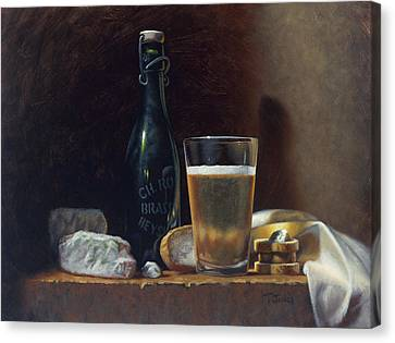Table Canvas Print - Bleu Cheese And Beer by Timothy Jones
