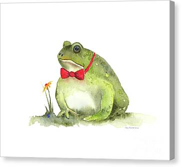 Frog Watercolor Canvas Print - Blind Date by Amy Kirkpatrick