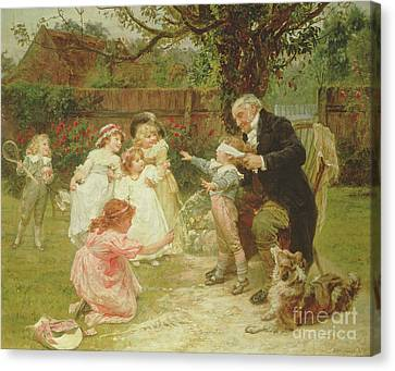 Old Grandfather Time Canvas Print - Blind Man's Buff by Frederick Morgan