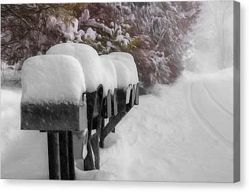 Blizzard Mailboxes Canvas Print by Lori Deiter