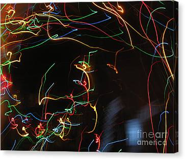 Canvas Print featuring the photograph Blizzard Of Colorful Lights. Dancing Lights Series by Ausra Huntington nee Paulauskaite