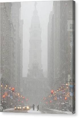Snow In The City Canvas Print by Christopher Woods