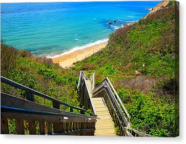 Staircase Canvas Print - Block Island Art by Lourry Legarde