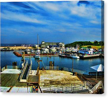 Block Island Marina Canvas Print by Lourry Legarde