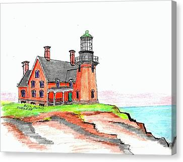 Block Island South Lighthouse Canvas Print by Paul Meinerth