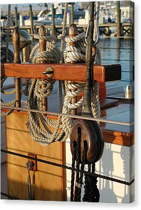 Block  Line  And Tackle Canvas Print by Nancy Taylor