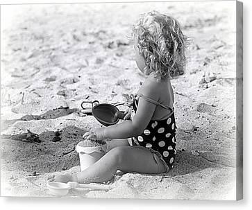 Beach Pails Canvas Print - Blond Beach Baby by Lori Seaman