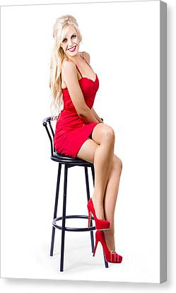Blond Female Bistro Babe On Bar Stool In Red Dress Canvas Print by Jorgo Photography - Wall Art Gallery