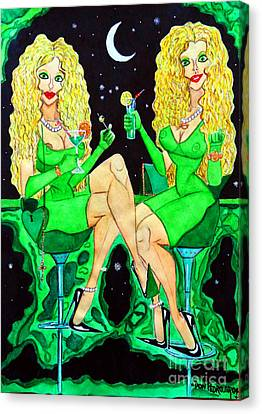 Blond Girls At Disco Canvas Print