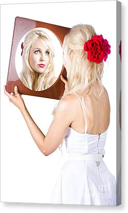 Youthful Canvas Print - Blond Woman Looking In Mirror by Jorgo Photography - Wall Art Gallery