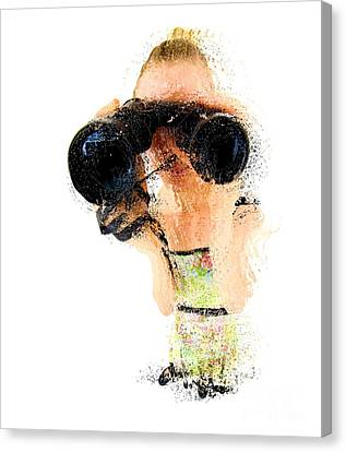 Blond Woman With Binoculars  Canvas Print by Humorous Quotes