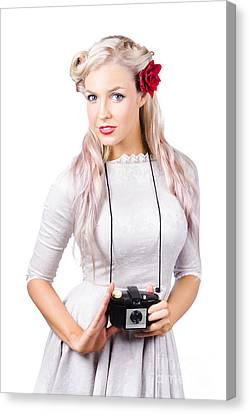 Blond Woman With Camera Canvas Print by Jorgo Photography - Wall Art Gallery