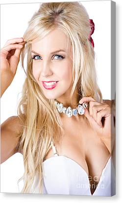 Youthful Canvas Print - Blond Woman With Necklace by Jorgo Photography - Wall Art Gallery