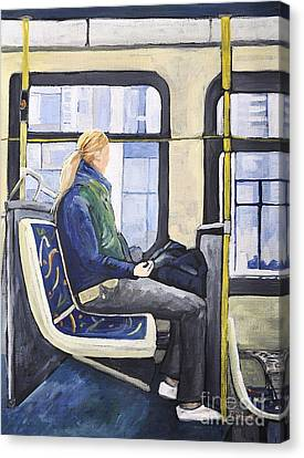 Blonde Girl On 107 Bus Montreal Canvas Print by Reb Frost