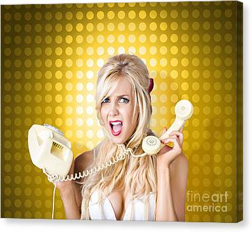 Blonde Girl Tangled In A Funny Phone Communication Canvas Print by Jorgo Photography - Wall Art Gallery