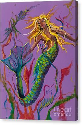 Blonde Mermaid Canvas Print by Mary DuCharme