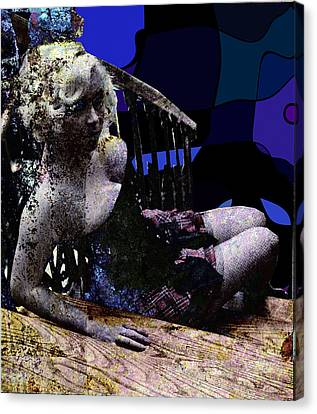 Blonde On Blue Stairs Canvas Print