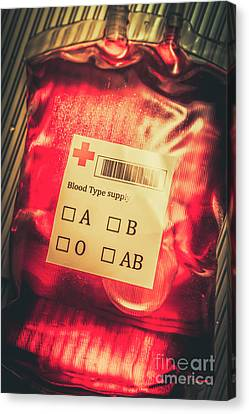 Blood Donation Bag Canvas Print