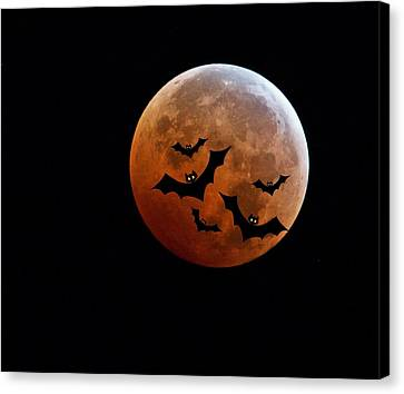 Blood Full Moon And Bats Canvas Print by Marianna Mills