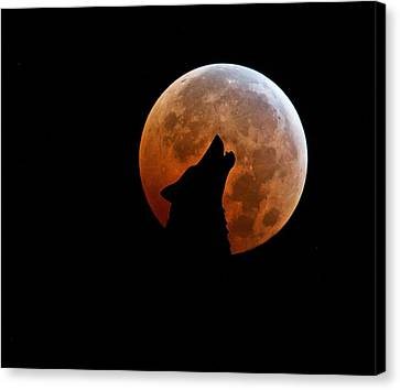 Creepy Canvas Print - Blood Full Moon And The Wolf by Marianna Mills