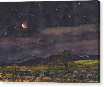 Canvas Print featuring the painting Blood Moon Over Boulder by Anne Gifford