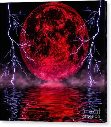 Blood Moon Over Mist Lake Canvas Print by Naomi Burgess