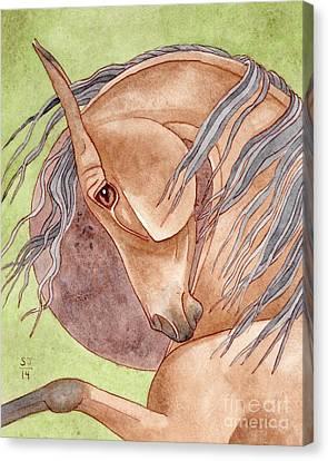 Bay Horse Canvas Print - Blood Moon by Suzanne Joyner