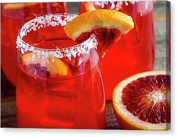 Canvas Print featuring the photograph Blood Orange Margaritas On The Rocks by Teri Virbickis