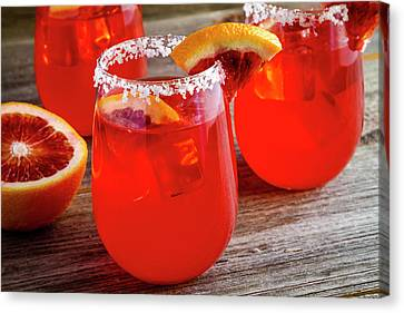 Canvas Print featuring the photograph Blood Orange Margaritas by Teri Virbickis