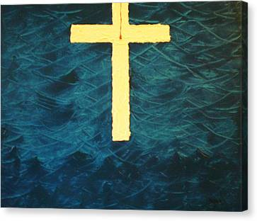 Canvas Print featuring the painting Blood Stained Cross by Barbara Hayes