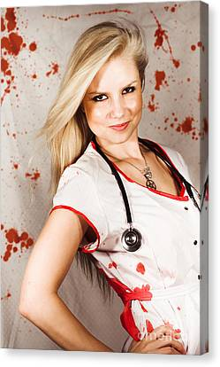 Bloodstained Sadistic Nurse Canvas Print by Jorgo Photography - Wall Art Gallery