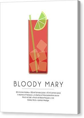 Bloody Mary Classic Cocktail - Minimalist Print Canvas Print