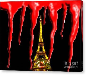 Bloody Paris - November 13, 2015 Canvas Print by Al Bourassa