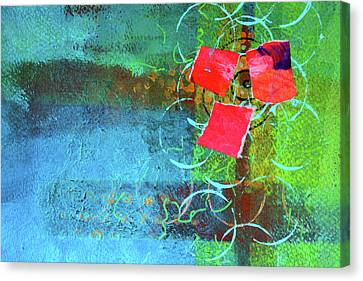Bloom Abstract Collage Canvas Print by Nancy Merkle