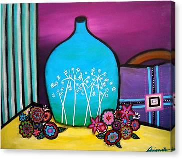 Canvas Print featuring the painting Bloom And Vase by Pristine Cartera Turkus