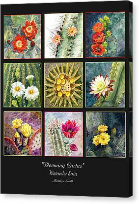 Canvas Print featuring the painting Blooming Cactus by Marilyn Smith